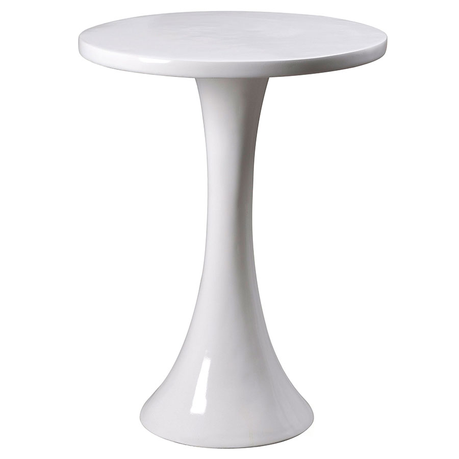 Snow Modern White Accent Table
