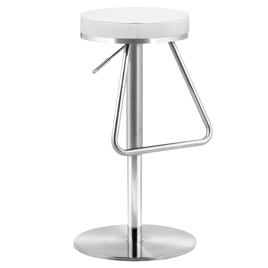 Soda Modern White Adjustable Bar + Counter Stool