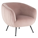 Sofia Contemporary Occasional Chair in Blush Velour Upholstery with Matte Black Stainless Steel Legs by Nuevo