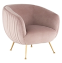 Sofia Contemporary Occasional Chair in Blush Velour Upholstery with Gold Brushed Stainless Steel Legs by Nuevo