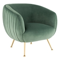 Sofia Contemporary Occasional Chair in Moss Green Velour Upholstery with Gold Brushed Stainless Steel Legs by Nuevo