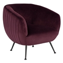 Sofia Contemporary Occasional Chair in Mulberry Velour Upholstery with Matte Black Stainless Steel Legs by Nuevo