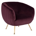 Sofia Contemporary Occasional Chair in Mulberry Velour Upholstery with Gold Brushed Stainless Steel Legs by Nuevo
