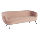Sofia Contemporary Sofa in Blush Velour Upholstery + Matte Black Stainless Steel Legs by Nuevo