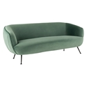 Sofia Contemporary Sofa in Moss Green Velour Upholstery + Matte Black Stainless Steel Legs by Nuevo
