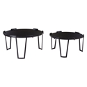 Solingen Round Black Steel + Black Glass Modern Nesting Coffee Tables