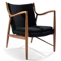 Sondheim Black Fabric + Oak Wood Modern Arm Chair