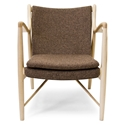 Sondheim Brown Fabric + Ash Wood Mid Century Modern Arm Chair
