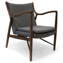 Sondheim Gray Fabric + Walnut Wood Modern Arm Chair