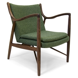Sondheim Green Fabric + Walnut Wood Mid Century Modern Arm Chair