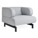 Gus* Modern Soren Chair in Bayview Silver Fabric Upholstery