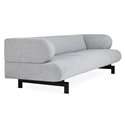 Gus* Modern Soren Sofa in Bayview Silver Fabric Upholstery With Black Powder Coated Steel Base