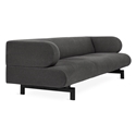 Gus* Modern Soren Sofa in Stockholm Graphite Fabric Upholstery With Black Powder Coated Steel Base