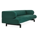 Gus* Modern Soren Sofa in Stockholm Juniper Fabric Upholstery With Black Powder Coated Steel Base