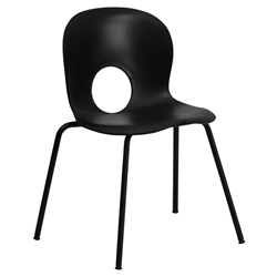 Salado Modern Plastic + Powder Coated Steel Stacking Chair in Black