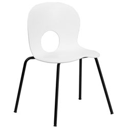 Salado Modern Plastic + Powder Coated Steel Stacking Chair in White