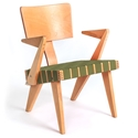 Spanner Contemporary Chair by Gus Modern in Light Birch with Green