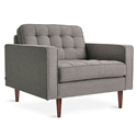 Gus* Modern Spencer Arm Chair in Bayview Osprey Fabric Upholstery with Walnut Wood Base