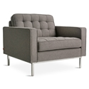 Gus* Modern Spencer Arm Chair in Bayview Osprey Fabric Upholstery with Stainless Steel Base