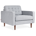Gus* Modern Spencer Arm Chair in Bayview Silver Fabric Upholstery with Walnut Wood Base