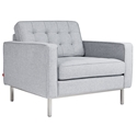 Gus* Modern Spencer Arm Chair in Bayview Silver Fabric Upholstery with Stainless Steel Base