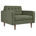 Gus* Modern Spencer Modern Arm Chair in Green Parliament Moss Fabric Upholstery with Walnut Wood Base