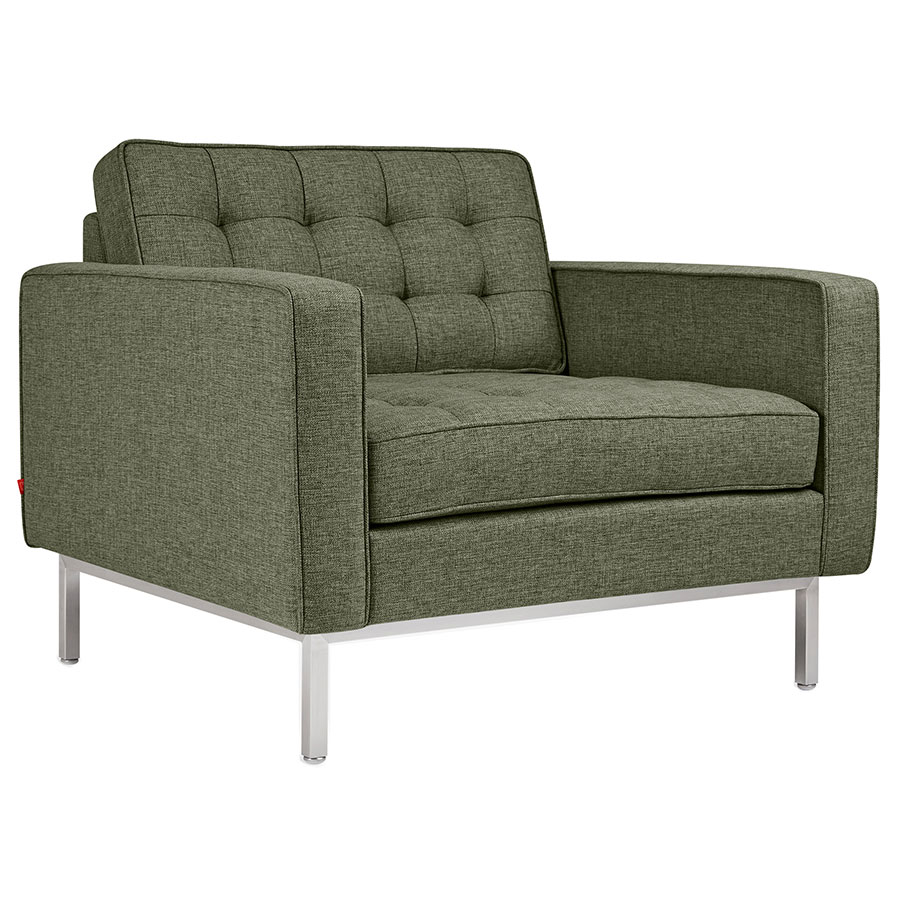 Gus* Modern Spencer Modern Arm Chair in Green Parliament Moss Fabric Upholstery with Stainless Steel Base