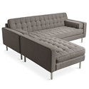 Gus* Modern Spencer LOFT Bi Sectional Sofa in Bayview Osprey Fabric Upholstery with Stainless Steel