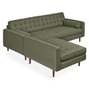 Gus* Modern Spencer LOFT Bi Sectional Sofa in Parliament Moss Fabric Upholstery with Walnut Wood Legs