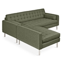 Gus* Modern Spencer LOFT Bi Sectional Sofa in Parliament Moss Fabric Upholstery with Stainless Steel Base