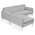 Spencer Loft Mid Century Modern Style Bi-Sectional Sofa with Parliament Stone Fabric + Stainless Steel Base by Gus* Modern