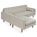 Gus* Modern Spencer LOFT Walnut Bi-Sectional in Leaside Driftwood