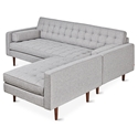 Spencer Loft Mid Century Modern Style Bi-Sectional Sofa with Parliament Stone Fabric + Walnut Wood Base by Gus* Modern