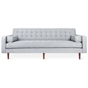 Gus* Modern Spencer Sofa in Bayview Silver Fabric Upholstery with Walnut Wood Base