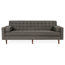 Spencer Mid Century Modern Style Sofa in Totem Storm Fabric Upholstery with Walnut Wood Base