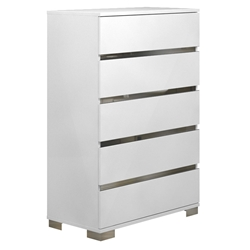 Sphynx White Lacquer + Stainless Steel Modern Chest of Drawers