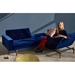 Innovation Splitback Chair in Blue Velvet + Dark Wood