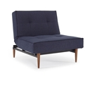 Splitback Modern Chair - Blue + Dark Wooden Legs - Upright