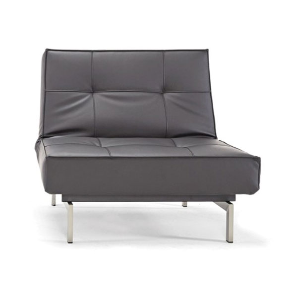 Splitback Lounge Chair in Black Leather Look