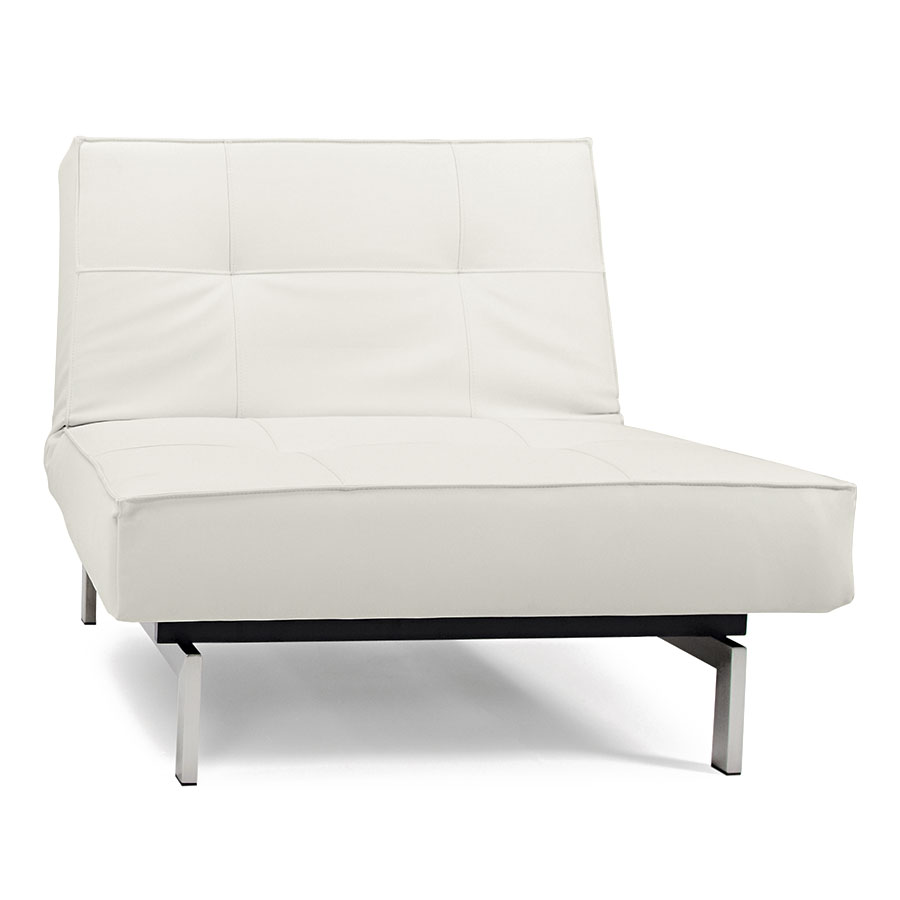Splitback Lounge Chair in White Leather Look + Stainless