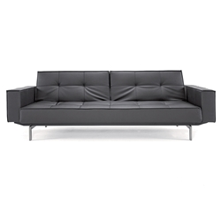 contemporary leather sofa sleeper. splitback modern sofa sleeper with arms - black contemporary leather a