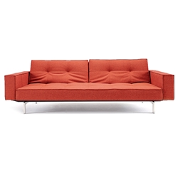 contemporary leather sofa sleeper. splitback modern sofa sleeper with arms - burned orange contemporary leather
