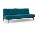 Splitback Modern Sleeper - Aqua + Dark Wooden Legs by Innovation