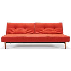 Splitback Modern Sleeper - Orange + Dark Wooden Legs