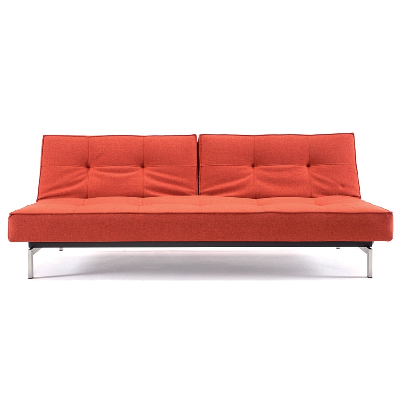 Splitback Modern Sofa Sleeper in Burned Orange