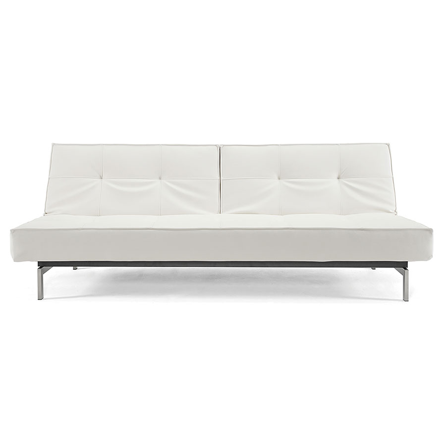 Superb Splitback Modern Sofa Sleeper In White Leather Look By Innovation