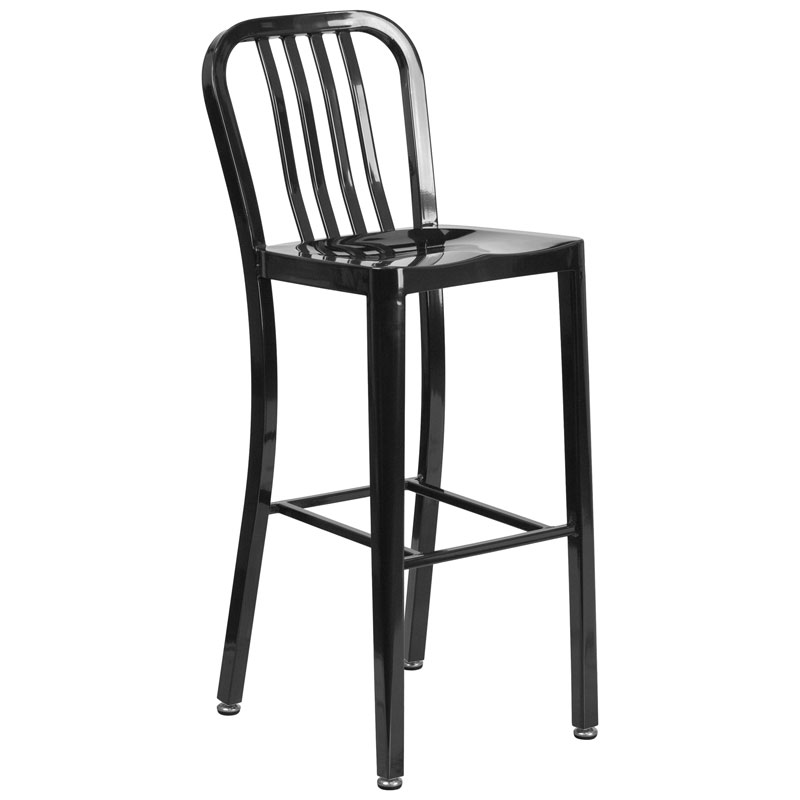 Stamford Black Modern Metal Bar Stool