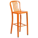 Stamford Orange Modern Metal Bar Stool