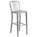 Stamford Silver Modern Metal Bar Stool