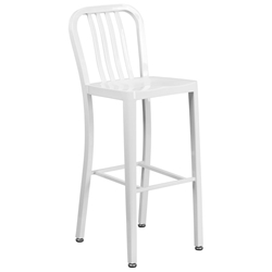Stamford White Modern Metal Bar Stool